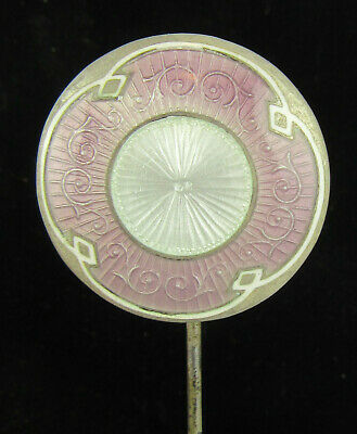Pink & Silver Guilloche Enamel Silver Headed Hat Pin, One Of Several Listed • 98£