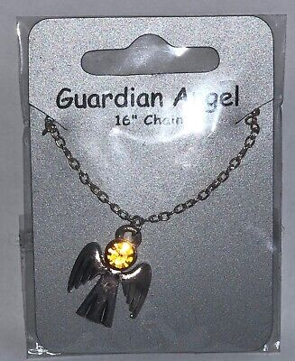 November Citrine Birthstone Guardian Angel Necklace Jewellery Gemstone  • 3.59£