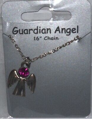 October Pink Tourmaline Birthstone Guardian Angel Necklace Jewellery Gemstone  • 3.59£