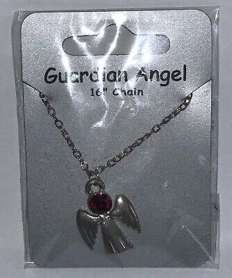January Garnet Birthstone Guardian Angel Necklace Jewellery Gemstone  • 3.59£