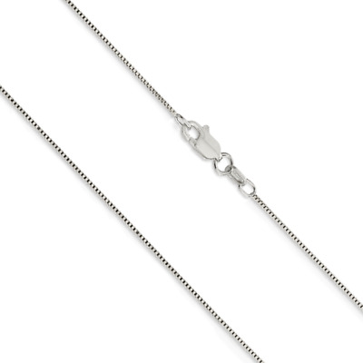 $113.78 • Buy 14K White Gold Solid Box Chain .7mm Wide Lobster Claw Clasp 16, 18, 20, 22, 24