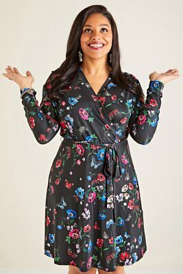 Black Yumi Curve Butterfly And Poppy Print Wrap Dress • 55£