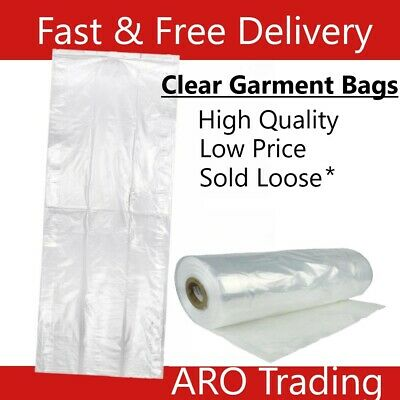 £8.95 • Buy Clear Garment Bags Polythene Garment Covers Dry Cleaners Clothing Bags All Sizes