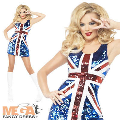 Union Jack Bling Fancy Dress Olympics British Ladies Pop Star Womens Costume New • 27.99£