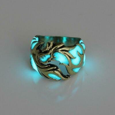 £2.59 • Buy Men's Dragon Carved Ring Glow In The Dark Rings Charm Casual Jewelry LC