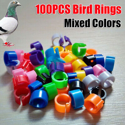 100PCS Bird Rings Leg Bands For Dove Chicken Pigeon Parrot  Poultry Clip Rings • 1.97£