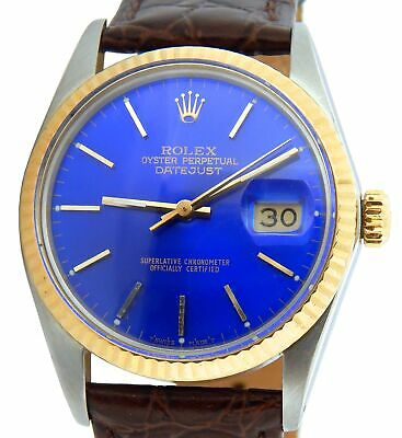 $ CDN5903.75 • Buy Rolex Datejust 16013 Mens 2Tone Stainless Steel & Yellow Gold Watch Blue Dial