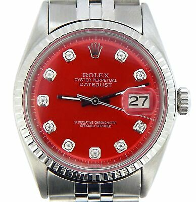 $ CDN5526.91 • Buy Rolex Datejust Mens Stainless Steel Watch Engine-Turned Bezel Red Diamond Dial