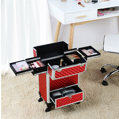 $74.99 • Buy Professional Makeup Artist Travel Rolling Organizer Case W/ Drawer Large Trolley
