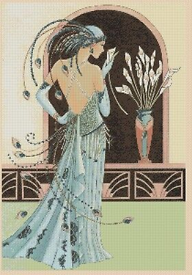 Cross Stitch Chart  Art Deco Lady 255 Flowerpower37-uk. • 3.75£