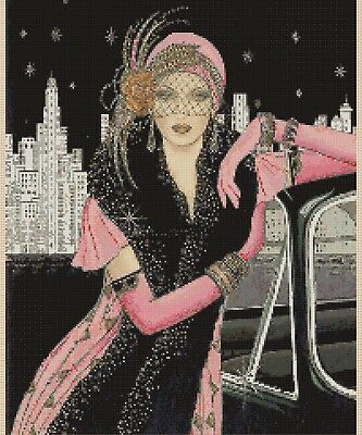 Cross Stitch Chart  Art Deco Lady 43 FlowerPower37-UK  • 3.50£