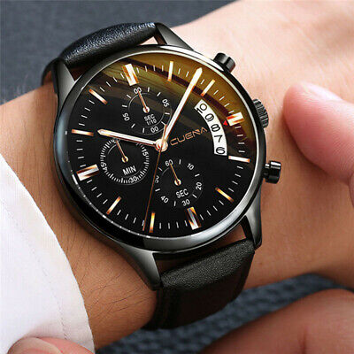 $ CDN6.32 • Buy Fashion Sport Men's Stainless Steel Case Leather Band Quartz Analog Wrist Watch