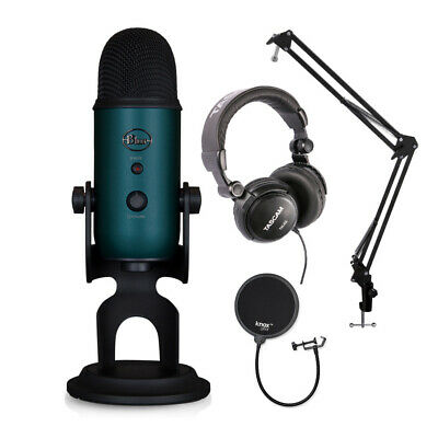 Blue Microphones Yeti Teal USB Mic With Knox Boom Arm, Pop Filter And Headphones • 121.59£