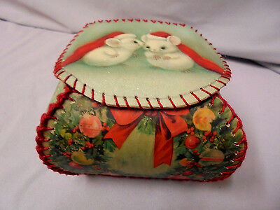 $ CDN22.74 • Buy Christmas Cards Trinket Box, Hand Made, Mice, Candles 4 X4 , 3.5  Tall Vintage