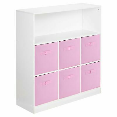 £52.99 • Buy Wooden White 7 Cubed Cupboard Storage Unit Shelves 6 Light Pink Drawers Baskets