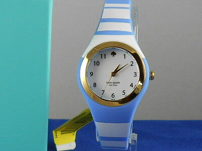 $ CDN63.32 • Buy Kate Spade Silver Plated Blue White Striped RUMSEY Silicone Watch KSW1088 $150