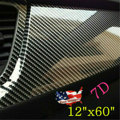 $13.54 • Buy 7D Car Stickers Carbon Fiber Vinyl Film Wrap Auto Interior Parts Accessories