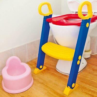 Childrens Toilet Seat & Ladder Toddler Training Step Up For Kids Easy Fold Down • 11.95£