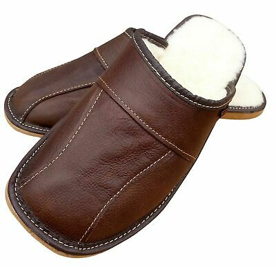 Men's Sheepskin Wool Brown Leather Slippers House Shoes Size 7 - 13 Soft Luxury • 11.99£