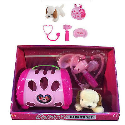 Soft Toy Puppy Dog In Pink Pet Carrier Case + Doctor Vets Nursing Accessories • 9.95£