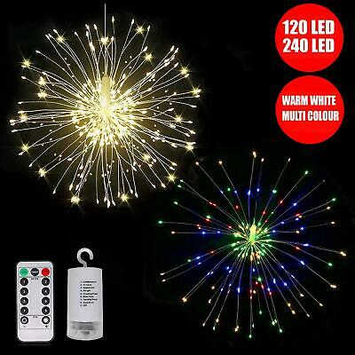 Led Battery Operated Firework Fairy Lights String Remote Control Christmas Party • 7.95£