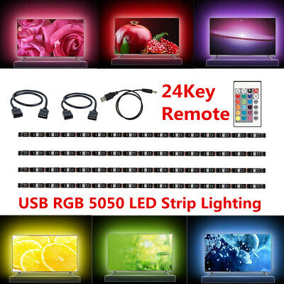 $3.99 • Buy DC 5V 5050 RGB SMD LED Strip Light Bar TV Back Lighting Kit + USB Remote Control