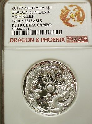 $174.99 • Buy 2017 P Australia Dragon & Phoenix Pf70 Ultra Cameo Ngc - High Relief, E.r.