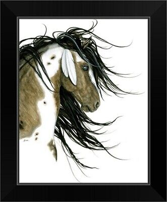 $52.49 • Buy Majestic Horse White Feathers Black Framed Wall Art Print, Horse Home Decor