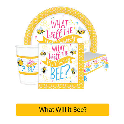 £3.49 • Buy WHAT WILL IT BEE? Gender Reveal Baby Shower Party Range - Tableware Decorations