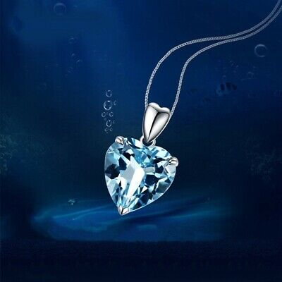 £3.97 • Buy Heart Aqua Ocean Pendant 925 Sterling Silver Chain Necklace Womens Jewellery New