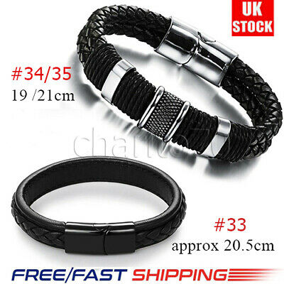 Mens Cow Leather Braided Bracelet Wristband Stainless Steel Clasp Jewellery Gift • 5.49£