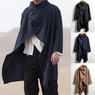 $24.79 • Buy Men's Hooded Cape Poncho Long Cardigan Cloak Hipster Gothic Punk Cape Coat Tops