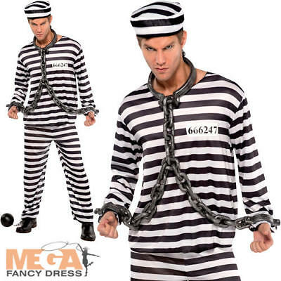 Jailbird Convict Mens Fancy Dress Prisoner Uniform Cops & Robbers Adults Costume • 14.99£