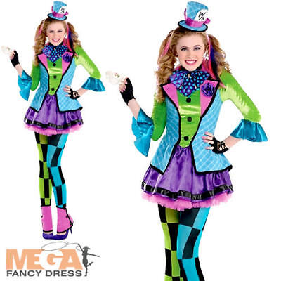Mad Hatter Girls Fancy Dress Book Character Kids Alice In Wonderland Costume • 22.49£