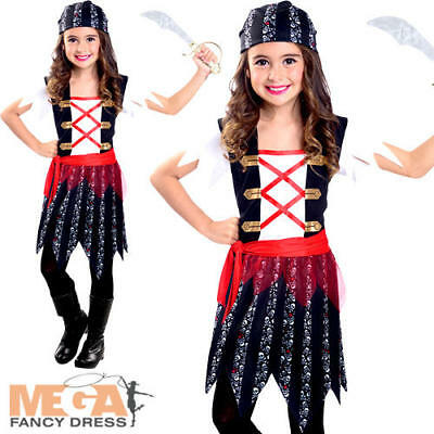 Pirate Cutie Girls Fancy Dress World Book Day Kids Childrens Halloween Costume • 10.99£