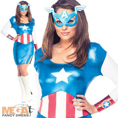 £31.99 • Buy Miss Captain America Ladies Fancy Dress Marvel Avengers Superhero Adults Costume