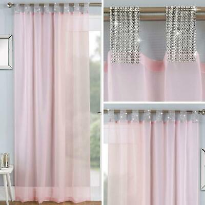 Blush Voile Curtain Panels Pink Diamante Sparkle Bling Tab Top Voiles Curtains • 11.95£