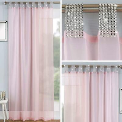 Blush Voile Curtain Panels Pink Diamante Sparkle Bling Tab Top Voiles Curtains • 12.95£