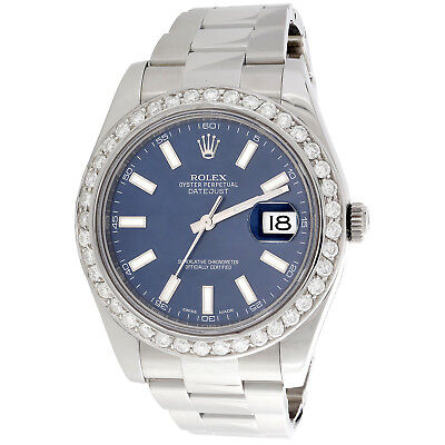 $ CDN13727.34 • Buy Mens 41mm Rolex DateJust II Diamond Watch Ref. # 116300 Blue Stick Dial 2.50 CT.