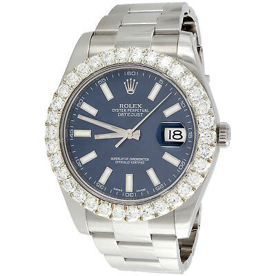 $ CDN17194.18 • Buy Rolex DateJust II 41mm Diamond Watch 116300 U CUT Prong Bezel Blue Stick 5.10 CT