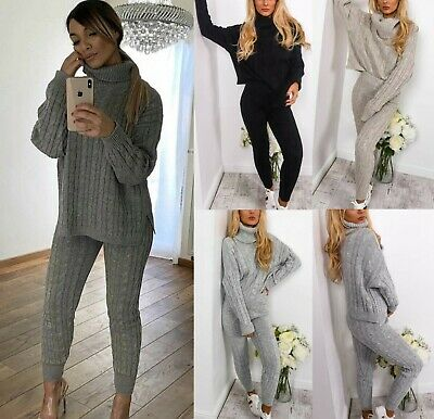 Women's Chunky Cable Knitted High Roll Neck Top Co Ord Loungewear Tracksuit Set • 19.95£