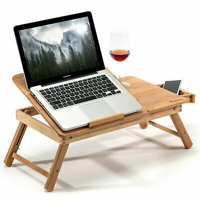 Portable Bamboo Bed Tray Table Height Adjustable Folding Laptop Desk W/ Drawer • 10.99£