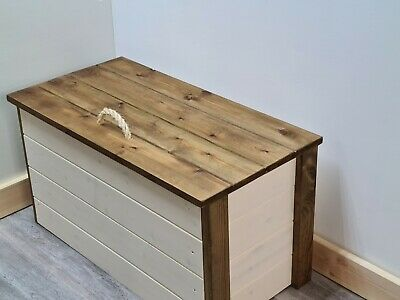 VINTAGE STORAGE Chest Ottoman Blanket Box Solid Wood Trunk GUARANTEED 4 XMAS • 61.19£