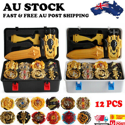 AU15.99 • Buy 12Pc Portable Box Beyblade Gold Burst Set Spinning +Grip Launcher Case B-day Toy
