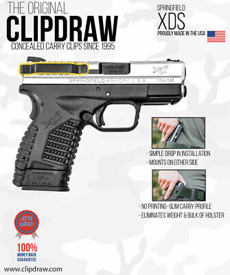 $29.95 • Buy Clipdraw Belt Clip Springfield XDS Model 1 & 2  9/40/45 IWB Black Ambidextrous