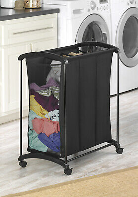 $50.99 • Buy Black 3 Section Mesh Laundry Sorter W/ Wheels Home Clothes Hamper Storage Cart