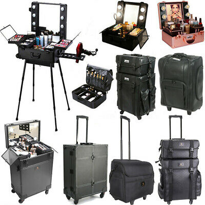 Pro Rolling Cosmetics Make Up Beauty Trolley Artist Table Case Lights Mirror Box • 199.95£