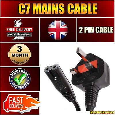 Power Cord UK 2 Pin Plug To C7 Figure 8 Power Lead Fig 8 Power Cable Mains • 4.39£