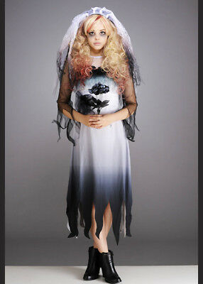 Kids & Teen Halloween Zombie Bride Gothic Fancy Dress Costume & Veil Headpiece • 26.99£