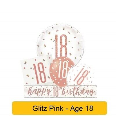 £3.15 • Buy *NEW ROSE GOLD GLITZ* Age 18 - Happy 18th Birthday - Party Supplies Decorations